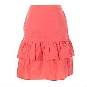 J. Crew Tiered Midi Skirt w. Ruffle Cotton Orange